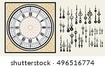 vintage clock dial with set... | Shutterstock .eps vector #496516774