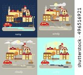 four types of different autumn... | Shutterstock .eps vector #496516921