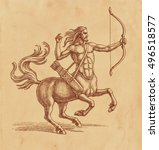 ink and pen drawing  centaur... | Shutterstock . vector #496518577