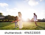 hula hoop enjoying cheerful... | Shutterstock . vector #496523005