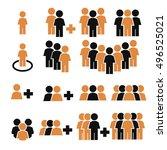 team work  crowd icon set | Shutterstock .eps vector #496525021
