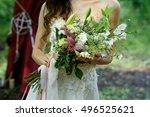 beautiful wedding bouquet in... | Shutterstock . vector #496525621