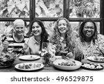 women communication dinner... | Shutterstock . vector #496529875