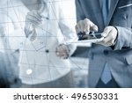 business people discussing the... | Shutterstock . vector #496530331