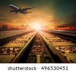track of railway and cargo... | Shutterstock . vector #496530451