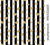 golden hearts stripes seamless... | Shutterstock .eps vector #496532605