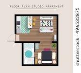detailed apartment furniture... | Shutterstock .eps vector #496532875