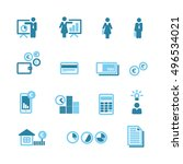 financial blue icons vector set ... | Shutterstock .eps vector #496534021