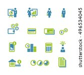 financial blue green icons... | Shutterstock .eps vector #496534045