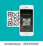 capute qr code on mobile phone  ... | Shutterstock .eps vector #496544365