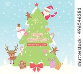 merry christmas and happy new... | Shutterstock .eps vector #496546381