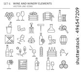 big set symbols of wine and... | Shutterstock .eps vector #496547209