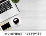 white wood office desk table...   Shutterstock . vector #496549459