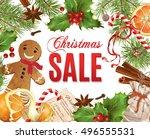 vector christmas sale banner... | Shutterstock .eps vector #496555531
