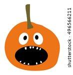 halloween pumpkin icon pumpkin... | Shutterstock .eps vector #496566211