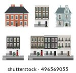 victorian buildings set | Shutterstock .eps vector #496569055