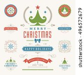 christmas labels and badges... | Shutterstock .eps vector #496572679