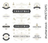 christmas labels and badges... | Shutterstock .eps vector #496572691