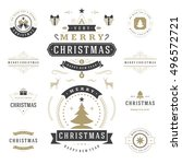 christmas labels and badges... | Shutterstock .eps vector #496572721
