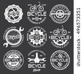 bicycle shop or bike repair... | Shutterstock .eps vector #496573351