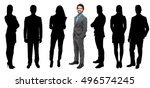 Small photo of Large group of impersonal people full length and businessman