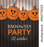 vector halloween party poster... | Shutterstock .eps vector #496575025