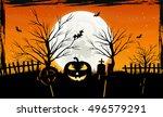 halloween background with... | Shutterstock .eps vector #496579291