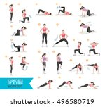 woman workout fitness  aerobic... | Shutterstock .eps vector #496580719