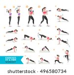 woman workout fitness  cardio... | Shutterstock .eps vector #496580734
