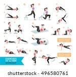 woman workout fitness  aerobic... | Shutterstock .eps vector #496580761