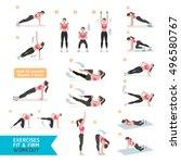woman workout fitness  aerobic...   Shutterstock .eps vector #496580767