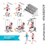 gym exercises machines sports... | Shutterstock .eps vector #496580929