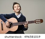 happy boy playing with pleasure ... | Shutterstock . vector #496581019