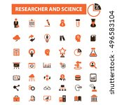 researcher and science icons  | Shutterstock .eps vector #496583104