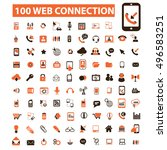 web connection icons  | Shutterstock .eps vector #496583251