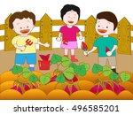children working on the harvest ... | Shutterstock .eps vector #496585201