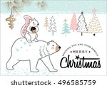 hand drawn christmas card with... | Shutterstock .eps vector #496585759