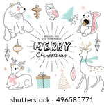 christmas card with hand drawn... | Shutterstock .eps vector #496585771