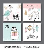 Stock vector set of hand drawn christmas card with cute animals 496585819