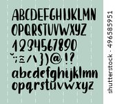 hand draw brush pen alphabet... | Shutterstock .eps vector #496585951