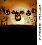 halloween background with scary ... | Shutterstock .eps vector #496586305