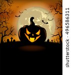 halloween background with scary ... | Shutterstock .eps vector #496586311