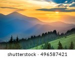 beautiful dramatic sunset in... | Shutterstock . vector #496587421