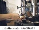 coffee machine barista grinder... | Shutterstock . vector #496587625
