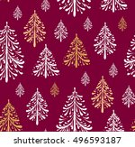 seamless pattern with christmas ... | Shutterstock .eps vector #496593187