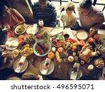 people celebrating thanksgiving ... | Shutterstock . vector #496595071