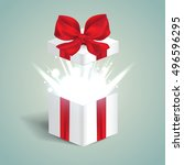 open red gift box with abstract ... | Shutterstock .eps vector #496596295