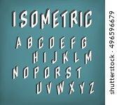 isometric font alphabet. vector ... | Shutterstock .eps vector #496596679