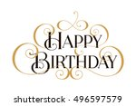 happy birthday. handwritten... | Shutterstock .eps vector #496597579