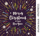 christmas greeting cards with... | Shutterstock .eps vector #496598311